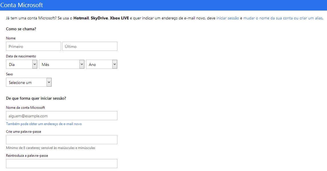 Criar uma conta de email no Outlook- Passo 2