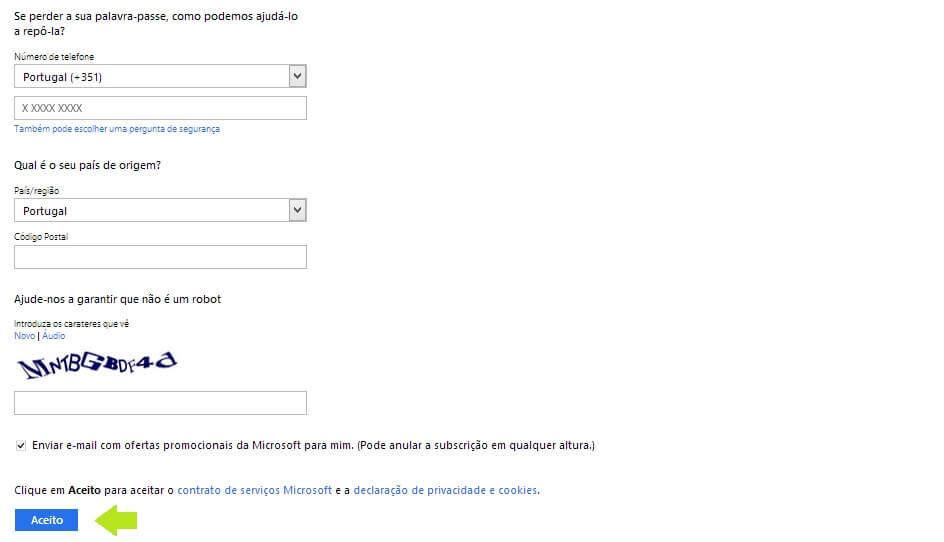 Criar uma conta de email no Outlook- Passo 3