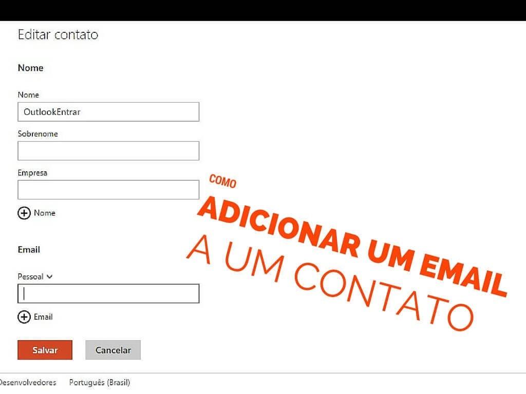 Como adicionar email a um contato
