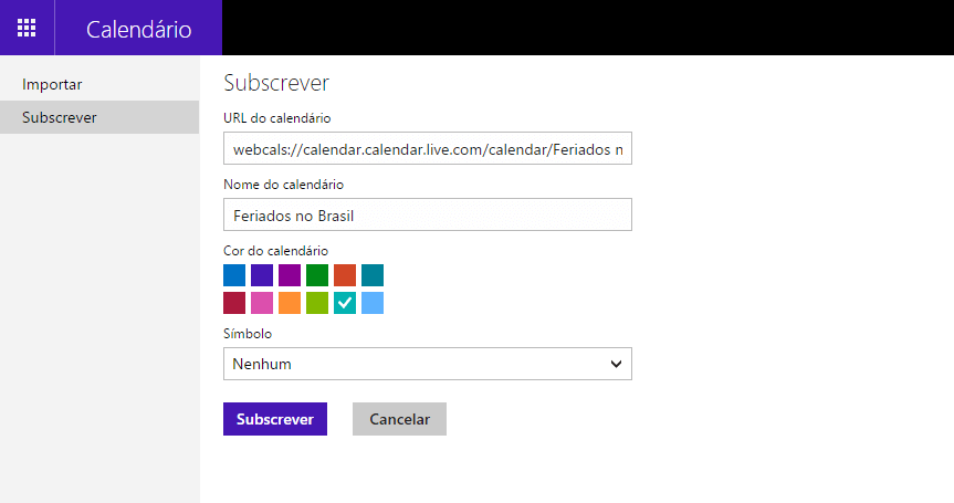 Como adicionar calendários de feriados ao calendário do Outlook.com?