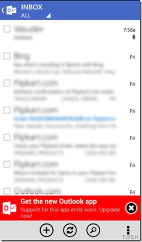antigo aplicativo Outlook.com para Android
