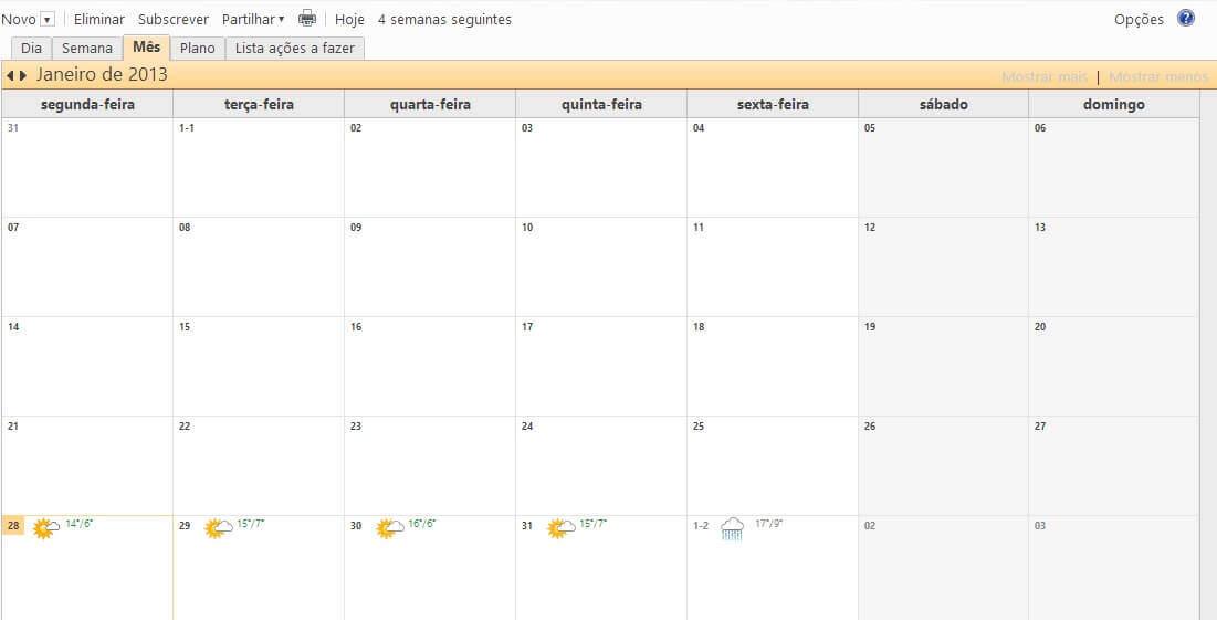 Criar um calendário no Outlook