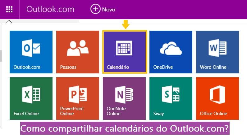 compartilhar calendários do Outlook