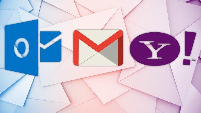 diferenças entre Outlook Gmail e Yahoo
