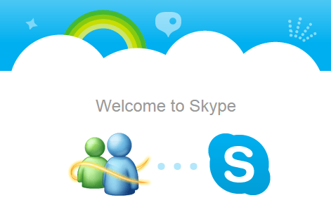 passar do MSN Messenger para o Skype